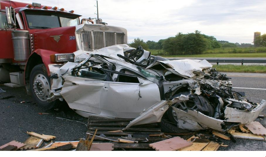car and truck collide